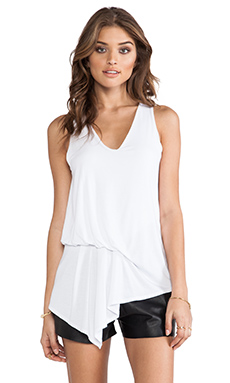krisa Asymmetrical Pleated Blouse in White