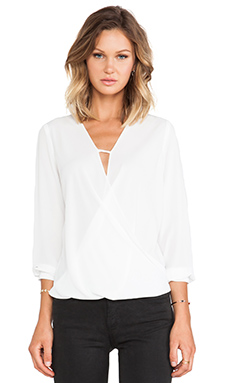 krisa Cross Surplice Blouse in White