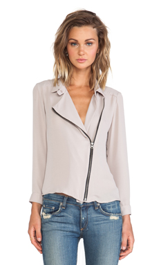 krisa Zip Moto Top in Ethereal