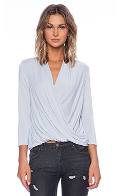 krisa 3/4 Sleeve Surplice Blouse in Sleet
