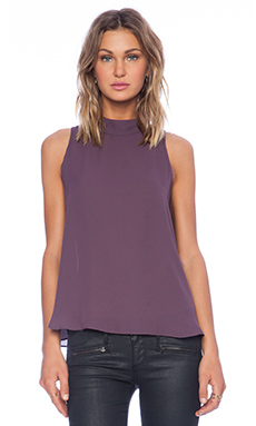 krisa Mock Neck Tank in Plum