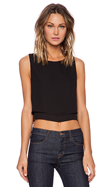 krisa Double Layer Crop Top in Black