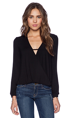 krisa Long Sleeve Surplice Top in Black