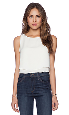 krisa Double Layer Crop Top in Ivory