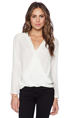 krisa Surplice Long Sleeve Top in Ivory