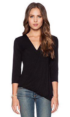 krisa Asymmetric Surplice Blouse in Black