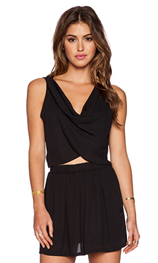 krisa Crop Drape Top in Black