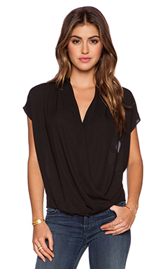krisa Surplice Short Sleeve Top in Black