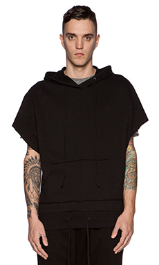 knomadik by Daniel Patrick Hero Sleeveless Hoodie in Black