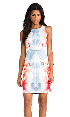 keepsake Chained Dress in Ice Blue Rose Print