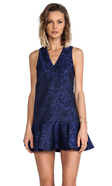 keepsake Strangers Dress in Navy Lace Jacquard