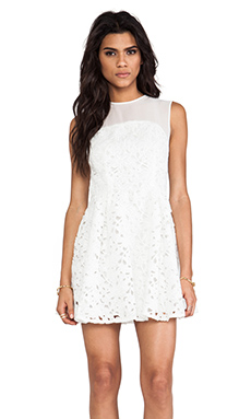 keepsake Reach for the Sun Mini Dress in Ivory Lace