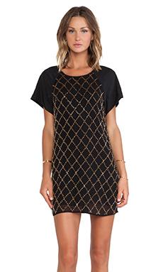 keepsake Little Talk Dress in Black & Gold