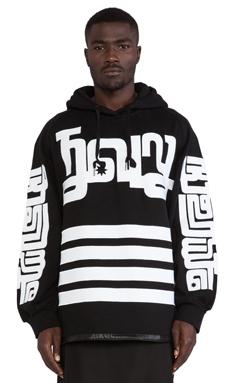 KTZ Side-Zipped Hoodie in Black/White