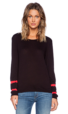 LACAUSA Contrast Long Sleeve Top in Stoplight & Tar