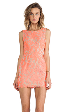 Ladakh Farrow Lace Dress in Neon Pink