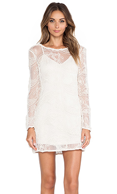 Ladakh Cornelli Lace Dress in White & Natural