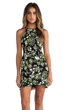 Ladakh Fluro Floral Dress in Black Multi
