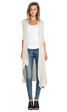 Ladakh Stripe Reverse Cardigan in Wheat