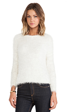 Ladakh Howling Faux Fur Sweater in Cream