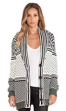 Ladakh Snow Storm Knit Cardigan in Black & White