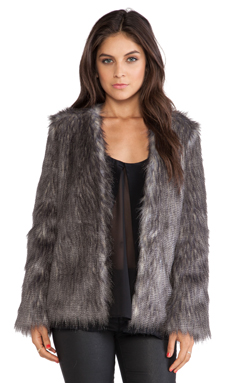 Ladakh Flecked Faux Fur Coat in Snowfox