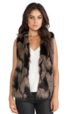 Ladakh Longline Faux Fur Vest in Caramel