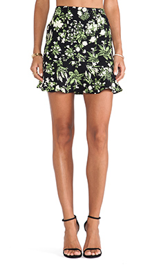 Ladakh Fluro Floral Skirt in Black Multi