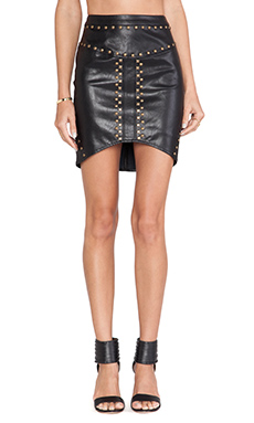 Ladakh Python Leatherette Skirt in Black