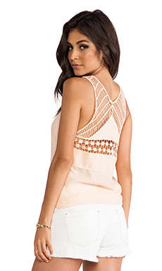 Ladakh Seaside Macrame Tank in Peach Sundae