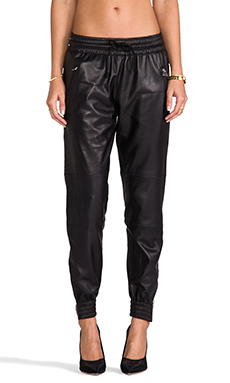 Laer Leather Zip Jogger in Black
