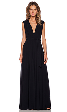 L'AGENCE Deep V Pleated Maxi Dress in Black
