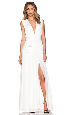 L'AGENCE Deep V Pleated Maxi Dress in White