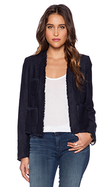 L'AGENCE Short Frayed Jacket in Navy