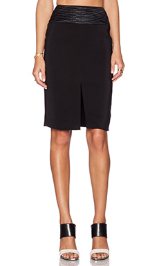 L'AGENCE Front Slit Pencil Skirt in Black