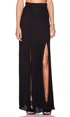 L'AGENCE Double Slit Maxi Skirt in Black