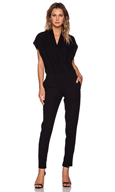 L'AGENCE Cross Over Front Jumpsuit in Black