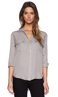 L'AGENCE Long Sleeve Blouse in Pearl Grey