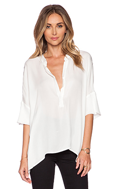 L'AGENCE Drop Shoulder Henley in White