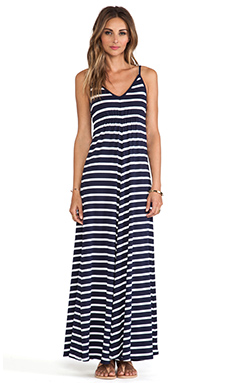 LA Made Classic Stripe Cami Maxi Dress in Navy & White