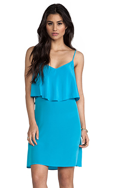 LA Made Silk Ruffle Tank Dress in Turquoise