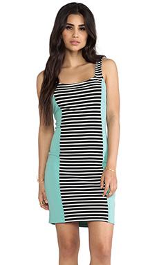 LA Made Colorblocked Stripe Bodycon Dress in Stripe & Mint