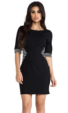 LA Made Colorblocked Striped Boatneck Elbow Sleeve Dress in Stripe & Black