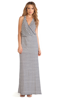 LA Made Stripe Wrap Maxi Dress in Navy & Natural