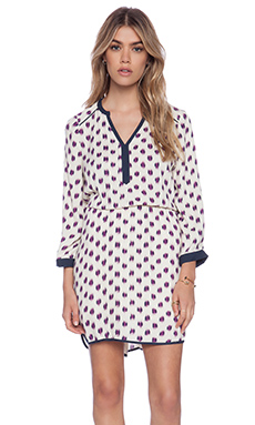 La Made Split Placket Piping Dress in Ikat Print