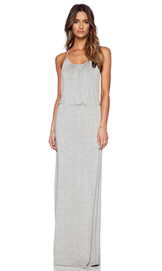 LA Made Draped T-Back Maxi Dress in Heather Grey