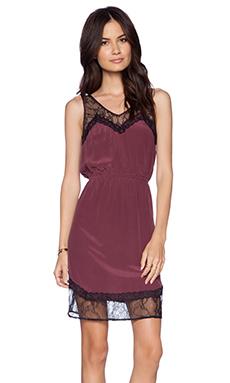 La Made Lace Slip Dress in Maroon