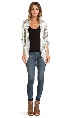 LA Made Cocoon Shape Cardigan in White & Black