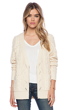 La Made Zipper Front Cardigan in Cream