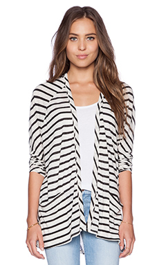 LA Made Caden Open Cardi in Black & Cream
